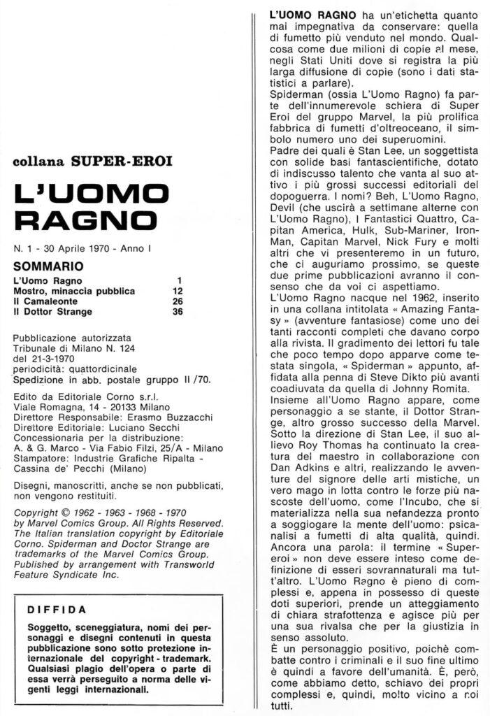 🕷30 aprile 1970: usciva in Italia L'Uomo Ragno🕷